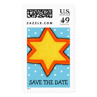 Christmas Star blue Save the Date Stamp