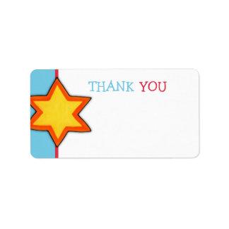 Christmas Star blue Thank You Tag Address Label