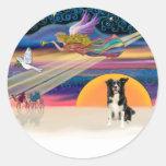 Christmas Star - Border Collie 4 Round Sticker