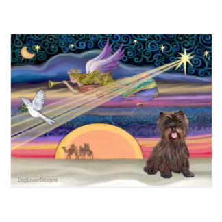 Christmas Star - Cairn Terrier (brindle) Postcard