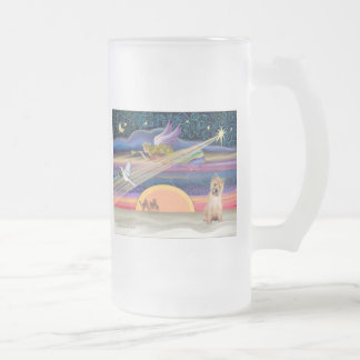 Christmas Star - Cairn Terrier pup #7 - Frosted Glass Beer Mug