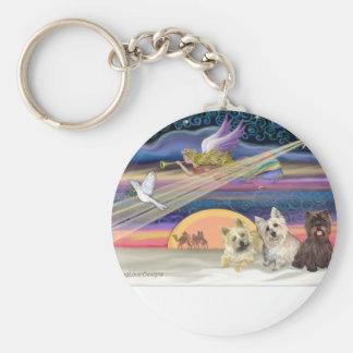 Christmas Star - Cairn Terrier (three) - Keychain