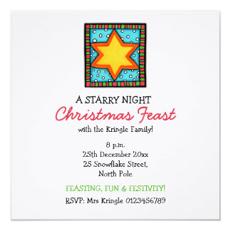 "Christmas Star Christmas Party Invitation 5.25"" Square Invitation Card"