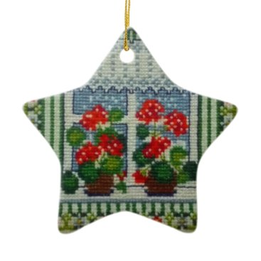 Christmas Themed Christmas star embroidered window c flowers ceramic ornament