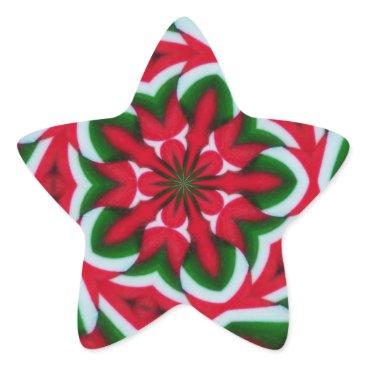 Christmas Themed Christmas Star Flower Kaleidoscope Star Sticker