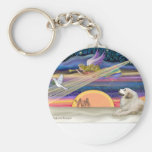 Christmas Star - Great Pyrenees 1 Basic Round Button Keychain