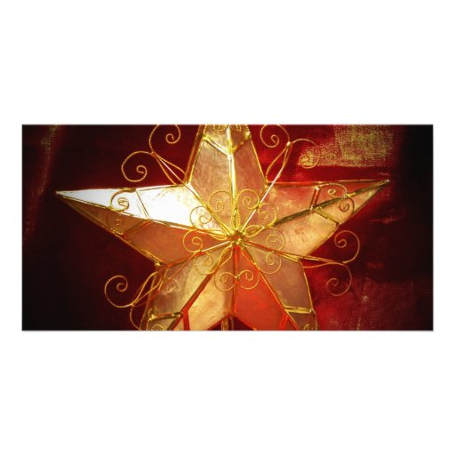 christmas star in spot light photo greeting card