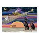 Christmas Star - Miniature Pinschers (two) Card