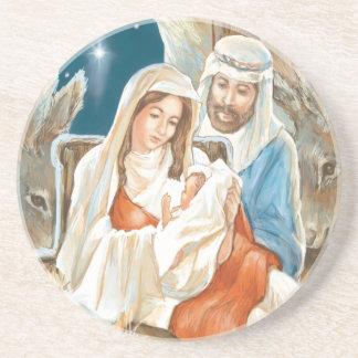 Christmas Star Nativity Painting Beverage Coaster
