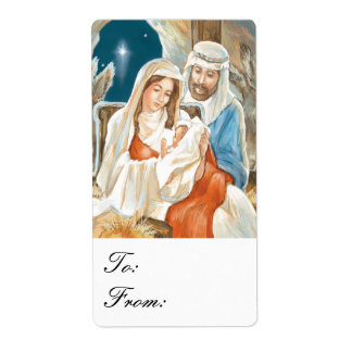 Christmas Star Nativity Painting Gift Tags Custom Shipping Label