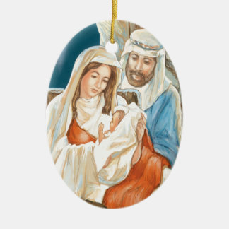 Christmas Star Nativity Painting Double-Sided Oval Ceramic Christmas Ornament