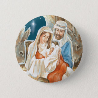 Christmas Star Nativity Painting Pinback Button