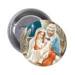 Christmas Star Nativity Painting Pinback Button