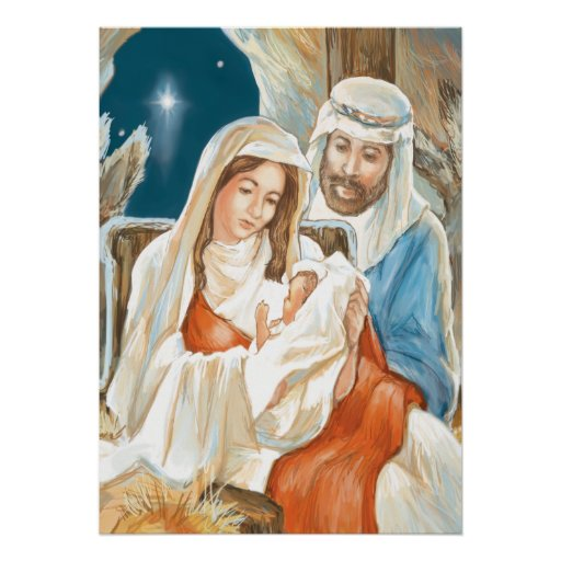 Christmas Star Nativity Painting Poster