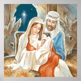 Christmas Star Nativity Painting Print