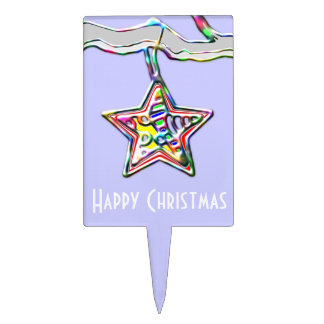 Christmas Star on Icy Branch Cake Topper
