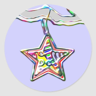 Christmas Star on Icy Branch Classic Round Sticker
