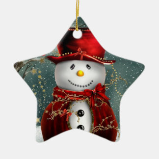 Christmas Star Ornament/Snowman Ceramic Ornament