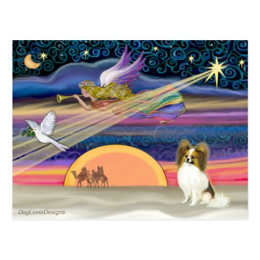 Christmas Star - Papillon (fawn #5) Postcard