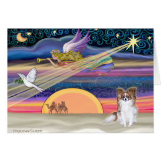 Christmas Star - Papillon (red sable) - Greeting Cards