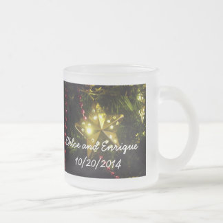 Christmas Star Personalized Holiday Wedding Frosted Glass Coffee Mug