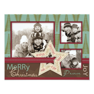 """Christmas Star Photo Card A2 4.25"""" X 5.5"""" Invitation Card"""