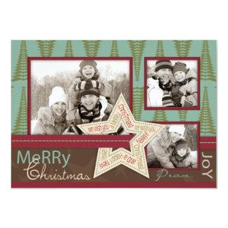 """Christmas Star Photo Card A6 4.5"""" X 6.25"""" Invitation Card"""