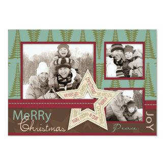 """Christmas Star Photo Card 5"""" X 7"""" Invitation Card"""