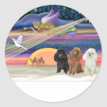 Christmas Star - Poodles (three Toy) - Sticker