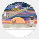 Christmas Star - Pug (fawn) - Round Sticker