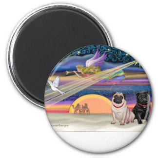 Christmas Star - Pugs (two, fawn + Black) 2 Inch Round Magnet