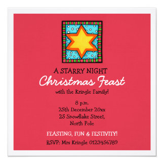 "Christmas Star red Christmas Invitation 5.25"" Square Invitation Card"