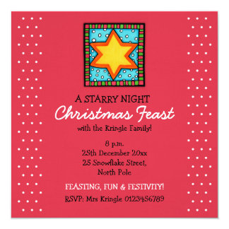 "Christmas Star red dots Christmas Invitation 5.25"" Square Invitation Card"