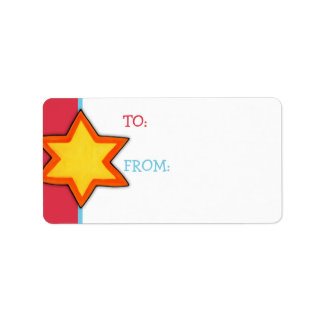 Christmas Star red Gift Tag Custom Address Label
