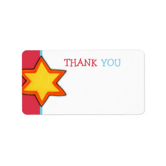 Christmas Star red Thank You Tag Address Label