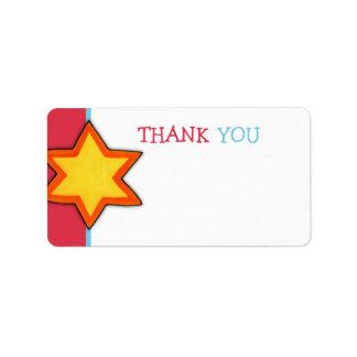 Christmas Star red Thank You Tag Custom Address Label