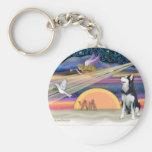 Christmas Star - Siberian Husky 1 Keychain