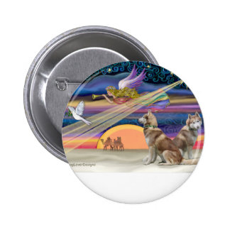 Christmas Star - Siberian Husky (two red) Pinback Button