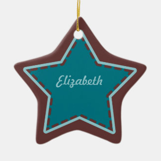 Christmas Star Stitchery maroon aqua teal Ceramic Ornament