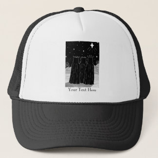 Christmas star three kings black & white seasonal trucker hat