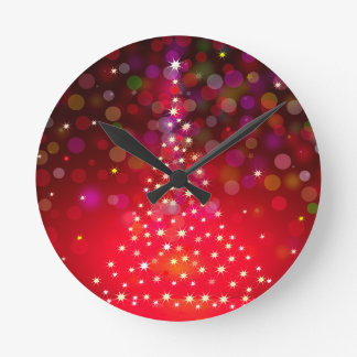 Christmas Star Tree & Christmas Background Round Clock