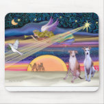 Christmas Star - Whippets (two) Mouse Mats