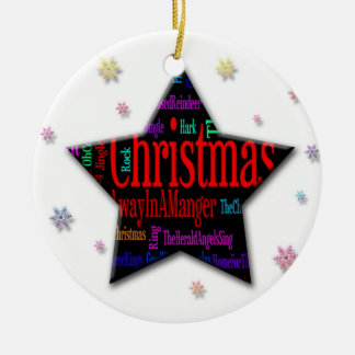Christmas Star with Christmas Songs Ceramic Ornament
