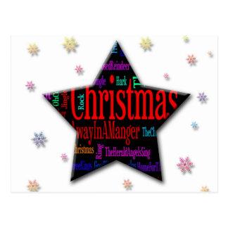 Christmas Star with Christmas Songs Postcard