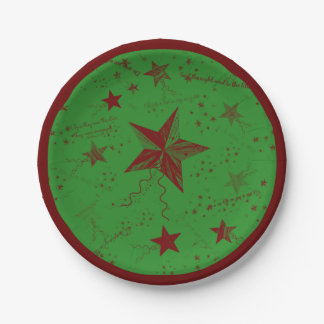 Christmas Star Words Paper Plate