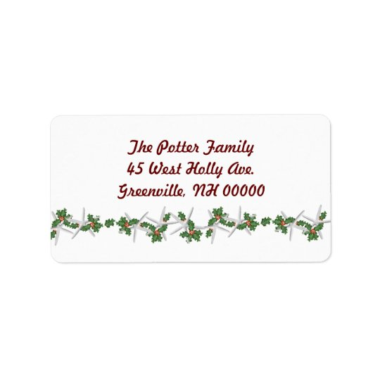 Christmas Starfish Address Labels, Red Text Label