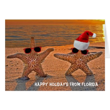 Beach Themed Christmas starfish couple on sunset beach card