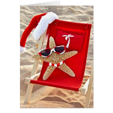 Beach Themed Christmas starfish in bikini and sunglasses card
