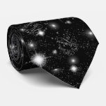 Christmas Stars Black and White CSRX Tie