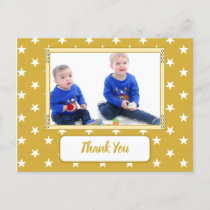 Christmas stars gold thank you for gifts photo announcement postcard